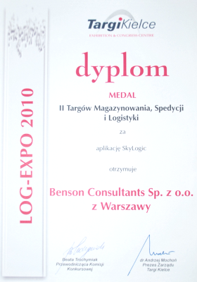 Dyplom firmy Benson Consultants